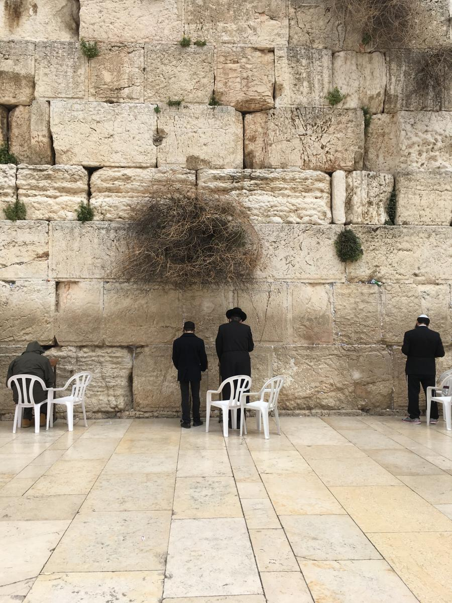 2 men face the wailing wall
