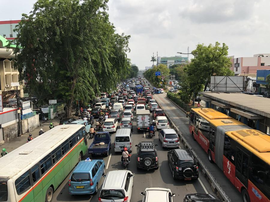 heavy traffic on a busy street in Jakarta